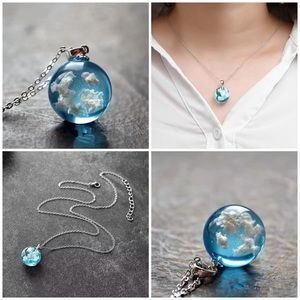 Blue sky, white fluffy cloud silver chain necklace